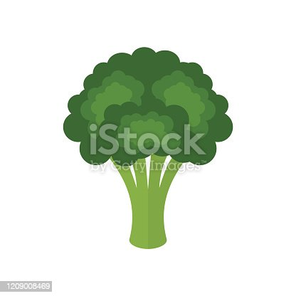 Colorful cartoon broccoli. Healthy food concept. Brassica oleracea var. italica. Vector illustration, flat style, clip art.