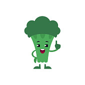 Broccoli holding up index finger with smile on face isolated on white background. Green fresh useful vegetable pointing up, flat cartoon vector illustration.
