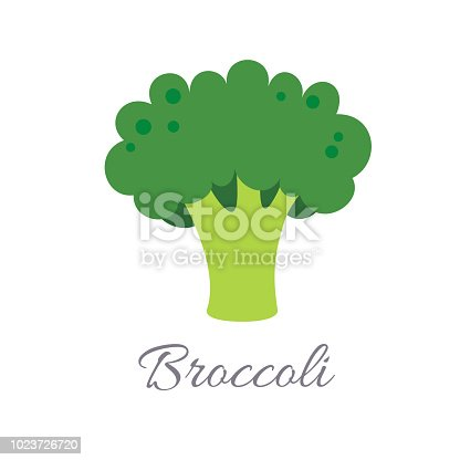 Vector illustration of broccoli icon in flat style with title, isolated on white background