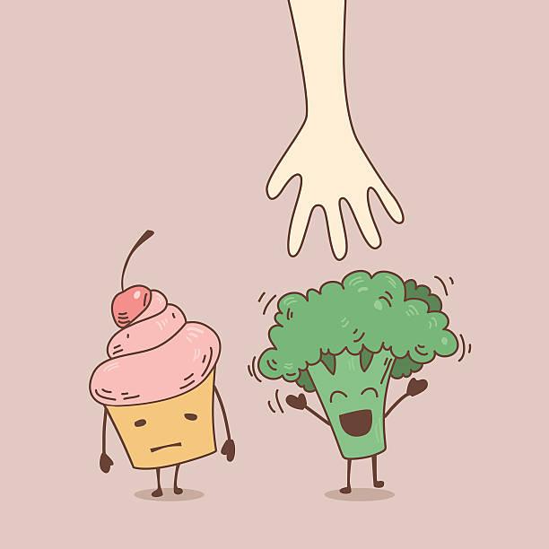 Broccoli instead of tasty cupcakes vector art illustration