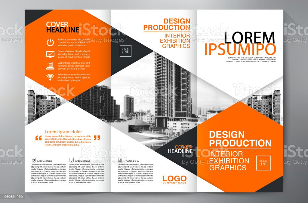 Brochure 3 Fold Flyer Design A4 Template Stock Illustration