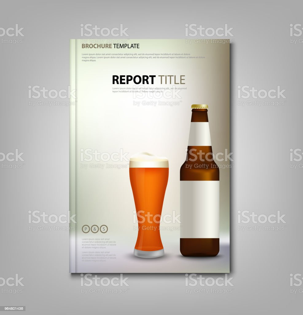 Brochure book or flyer with glass of beer and bottles royalty-free brochure book or flyer with glass of beer and bottles stock illustration - download image now