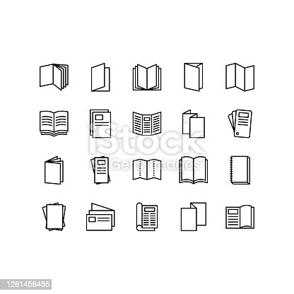Brochure, booklet, flyer, leaflet, catalogue flat line icons. Outline set vector icons for web design isolated on white background. Editable stroke.