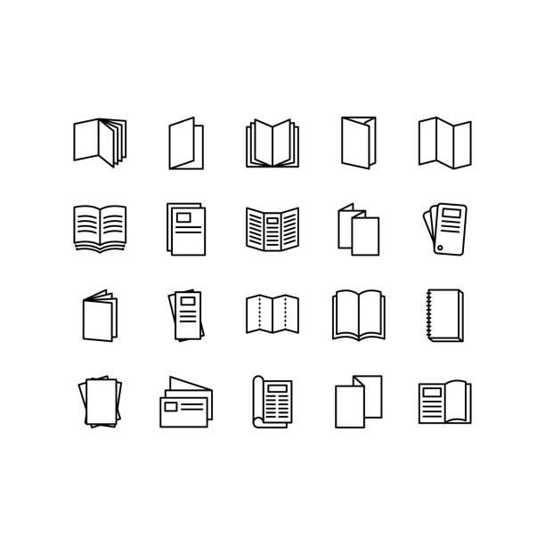broszura, broszura, ulotka, ulotka, katalog płaskie ikony linii. ikony wektora zestawu konspektów dla projektowania stron internetowych izolowane na białym tle. edytowalny obrys - broszura stock illustrations