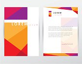 brochure cover and letterhead template design mockup for business company presentations and stationery set- colorful trendy geometrical pattern with letter i logo sign