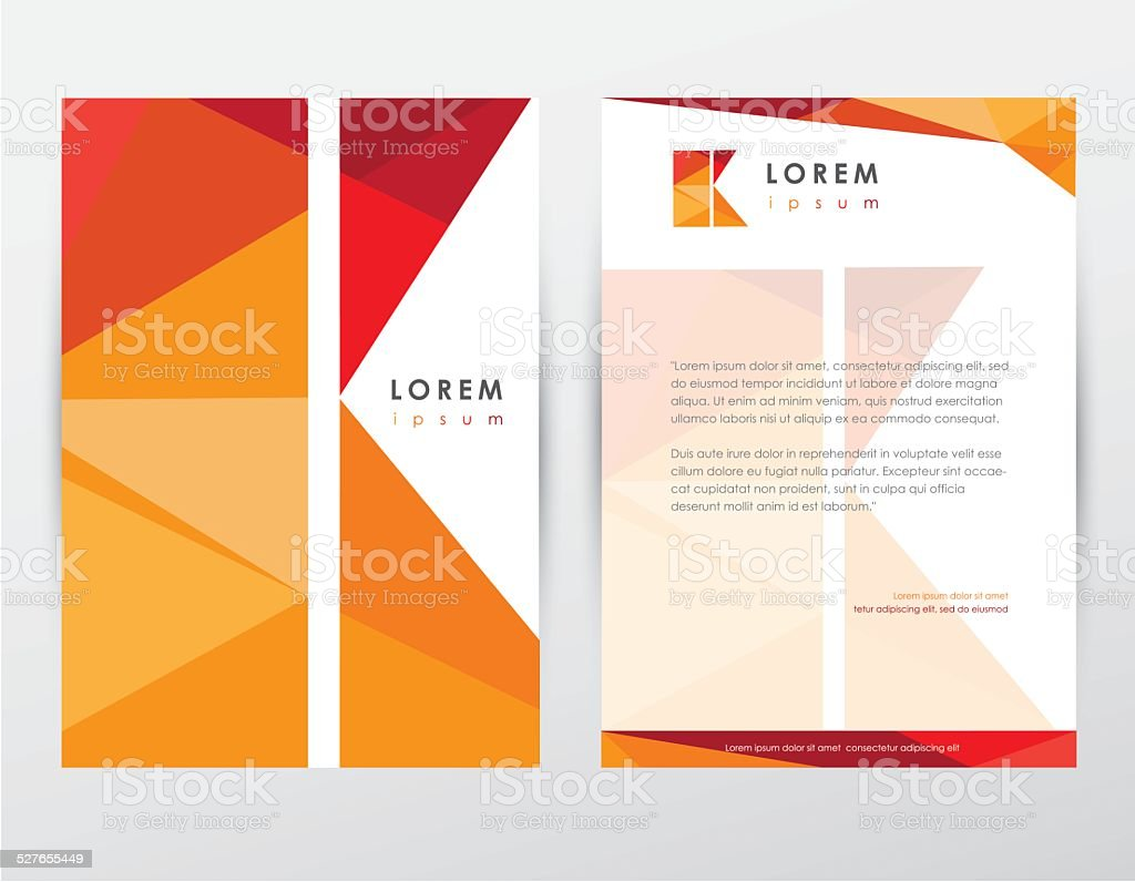 brochure cover and letterhead template design stationery with letter k vector art illustration