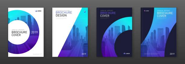 stockillustraties, clipart, cartoons en iconen met brochure cover ontwerp layout set voor business - tijdschriftcover