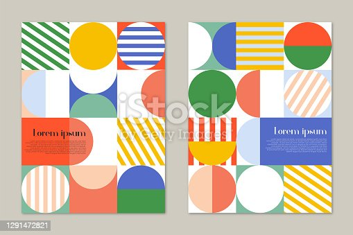 Brochure cover design template with retro mid century geometric graphics. Colorful geometric shapes.