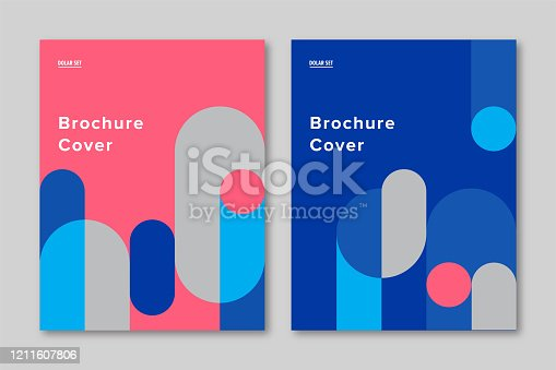istock Brochure cover design template with retro midcentury geometric graphics 1211607806