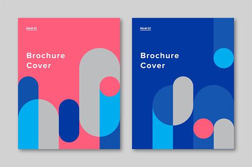 Brochure cover design template with retro midcentury geometric graphics