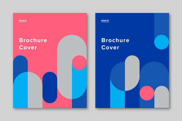 brochure cover design template with retro midcentury geometric graphics - diversity stock illustrations