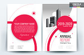 A modern business brochure cover layout with red circle on white background design