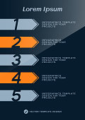 Brochure cover or web banner design with numbered steps. Vector illustration