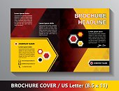 Brochure Cover Template. Abstract Triangles - Black, Red, Yellow.