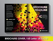 Brochure Cover Template. Abstract Triangles - Black, Yellow, Pink, Red.