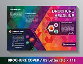 Brochure Cover Template. Abstract Triangles - Green, Red, Orange, Lilac, Blue.