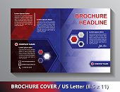 Brochure Cover Template. Abstract Triangles - White, Blue, Red .