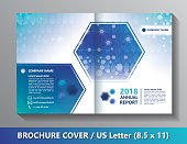 Brochure cover template US Letter size. Hexagon scientific and medicine template