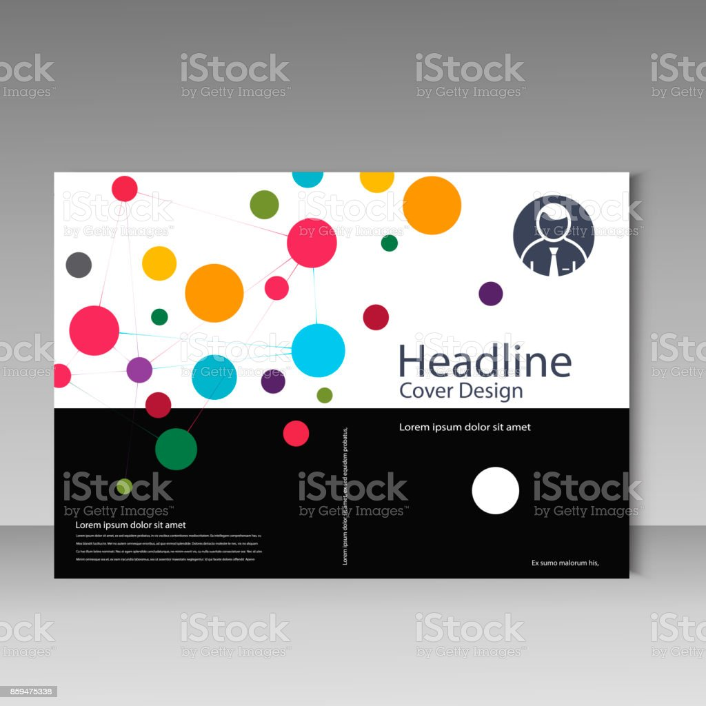 Brochure cover template with abstract connect pattern. vector art illustration
