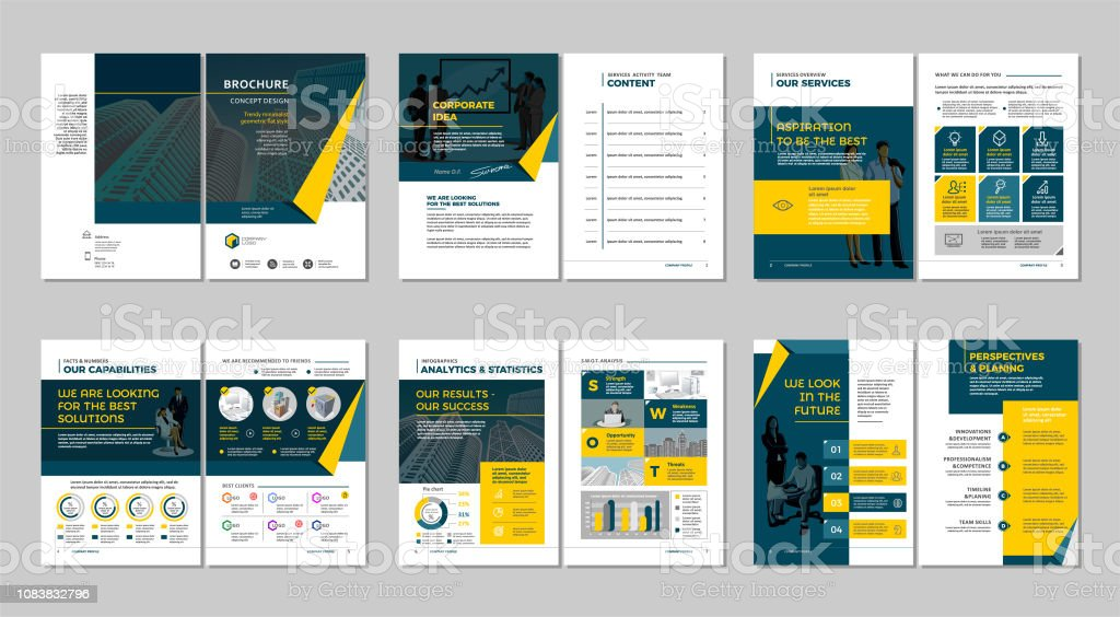 Brochure creative design. Multipurpose template, include cover, back and inside pages.  Vertical a4 format.