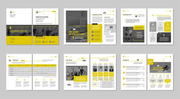 kreatywne opracowanie broszury. szablon uniwersalny, obejmują okładkę, strony z tyłu i wewnątrz.  pionowy format a4. - broszura stock illustrations