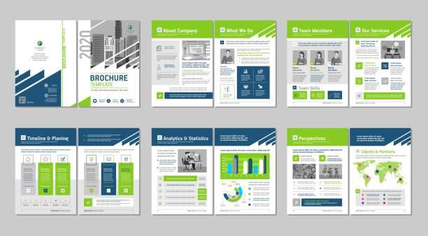 브로셔 창조적 인 디자인. 다목적 템플릿은 표지, 뒤로 및 내부 페이지를 포함합니다. 트렌디 한 미니멀 한 평면 기하학적 디자인. - 책자 stock illustrations