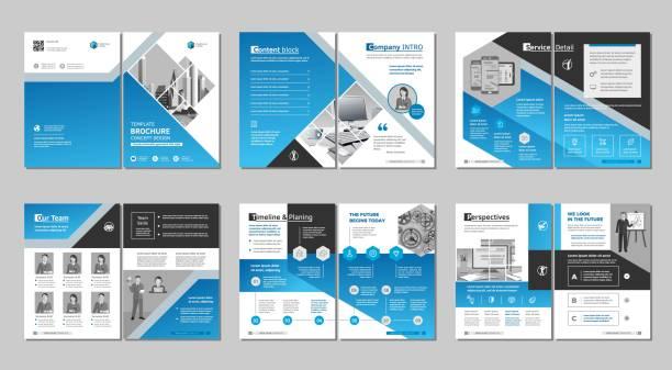 ilustrações, clipart, desenhos animados e ícones de brochura design criativo. modelo multiuso, inclua capa, páginas de trás e de dentro. projeto geométrico liso minimalista na moda. - templates