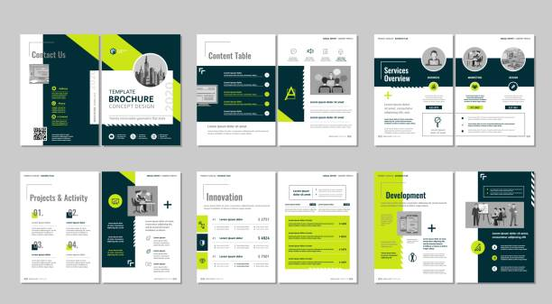 Brochure creative design. Multipurpose template, include cover, back and inside pages. Trendy minimalist flat geometric design. Vertical a4 format. for sale stock illustrations