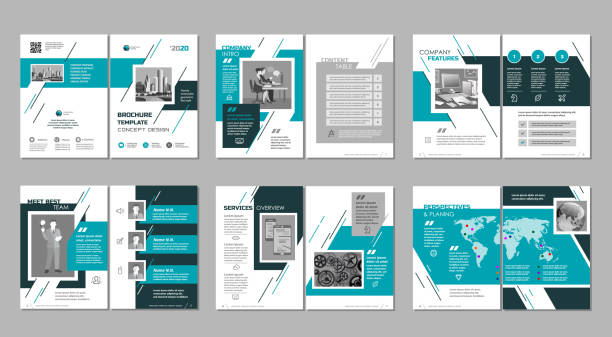 Brochure creative design. Multipurpose template, include cover, back and inside pages. Trendy minimalist flat geometric design. Vertical a4 format. brochure templates stock illustrations