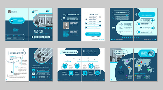 Brochure creative design. Multipurpose template, include cover, back and inside pages.
