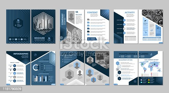 Multipurpose template, include cover, back and inside pages. Trendy minimalist flat geometric design. Vertical a4 format