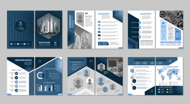 kreatywne projektowanie broszur - broszura stock illustrations