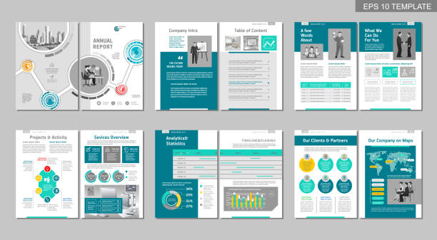 Brochure creative design. Multipurpose template, include cover, back and inside pages. Trendy minimalist flat geometric design. Vertical a4 format. plan document stock illustrations
