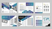 Multipurpose template, include cover, back and inside pages. Trendy minimalist flat geometric design. Vertical a4 format.