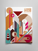brochure deign with abstract geometric