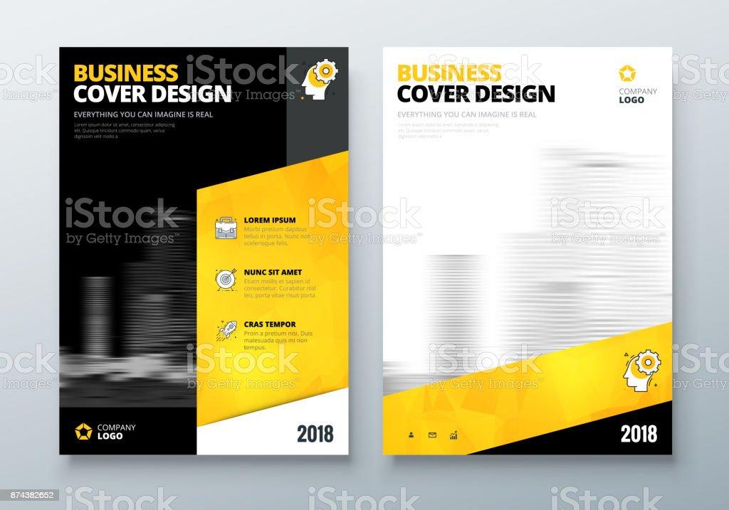 Ilustración de Diseño De Folleto Negro Amarillo Corporativo Negocio ...