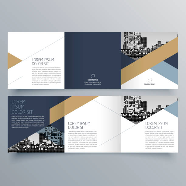 brochure design, brochure template, creative tri-fold, trend brochure - brochure templates stock illustrations, clip art, cartoons, & icons