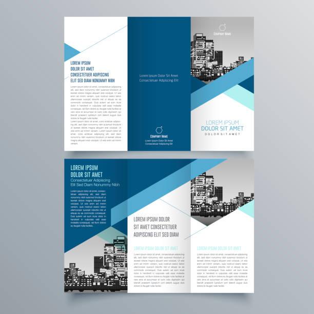 broschüre design, broschüre vorlage, kreative tri-fold, trendbroschüre - folder stock-grafiken, -clipart, -cartoons und -symbole