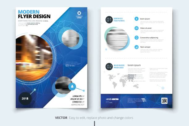 Brochure design. Corporate business report cover, brochure or fl Brochure design. Corporate business report cover, brochure or flyer design. Leaflet presentation. Flyer with abstract circle, round shapes background. Modern poster magazine, layout, template. A4. banking drawings stock illustrations