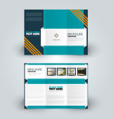 Brochure design. Creative tri-fold template. Abstract geometric background leaflet layout. Blue and orange color vector illustration.