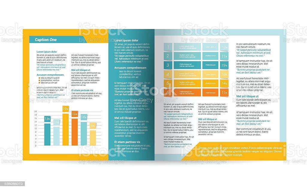 Brochure design. Magazine layout for infographics. vector art illustration