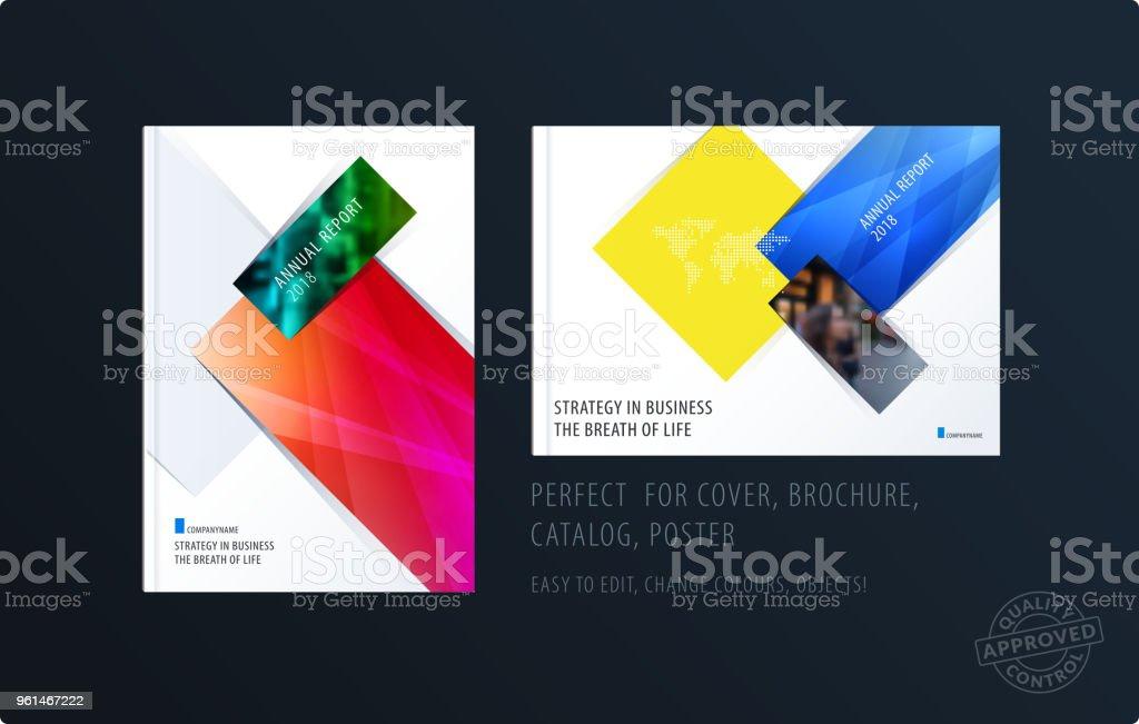 brochure design rectangular template colourful modern abstract set