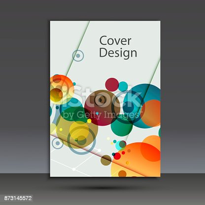 909923870istockphoto Brochure design template cover. Vector abstract round 873145572