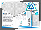 Brochure design template. Vector trifold geometric abstract. Trendy colors