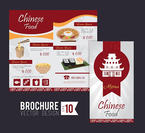 ilustraciones, imágenes clip art, dibujos animados e iconos de stock de diseño de folletos - comida china