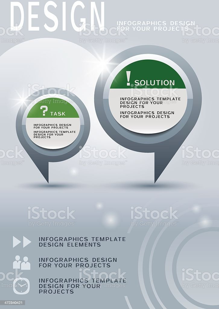 Brochure design with two round infographic elements royalty-free stock vector art