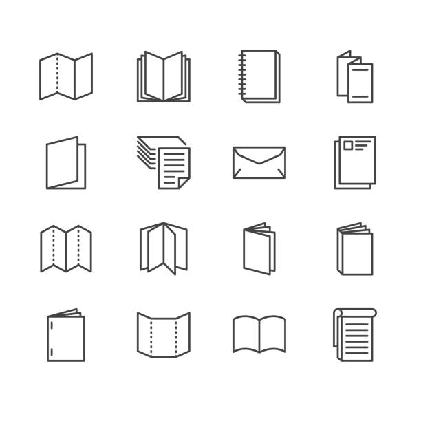 Brochure flat line icons. Business identity illustrations - letterhead, booklet, flyer, leaflet, corporate catalogue, envelope. Thin signs for print shop. Pixel perfect 64x64. Editable Strokes Brochure flat line icons. Business identity illustrations - letterhead, booklet, flyer, leaflet, corporate catalogue, envelope. Thin signs for print shop. Pixel perfect 64x64. Editable Strokes. book icons stock illustrations