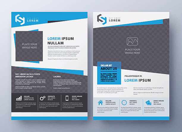 brochure flyer design template. leaflet cover in a4 size - single object stock illustrations