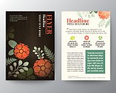 Brochure Flyer graphic design Layout vector template with floral
