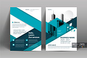 Brochure Flyer Template Layout Background Design. booklet, leaflet, corporate business annual report layout with white and blue geometric background template a4 size - Vector illustration.